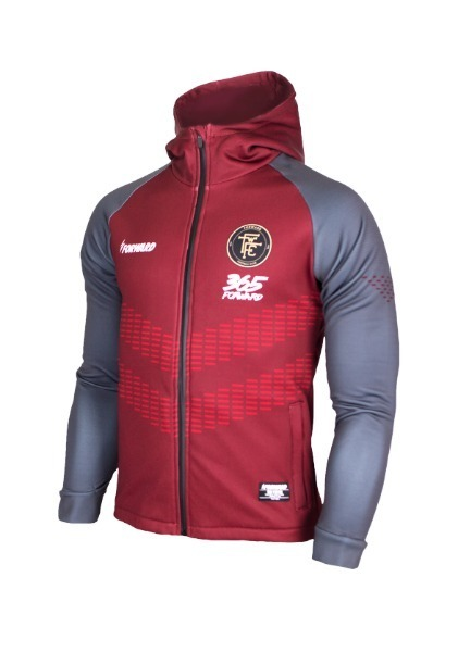 WARM-UP HOODY FULL ZIP TOP (WINE/GREY)