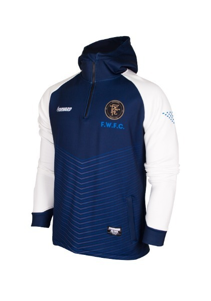 WARM-UP HOODY HALF ZIP TOP (NAVY/WHITE)