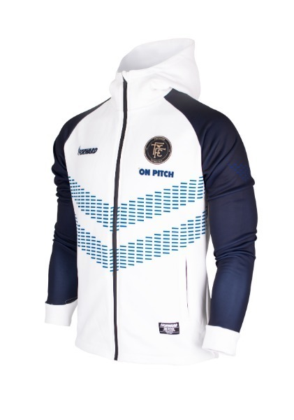 WARM-UP HOODY FULL ZIP TOP (WHITE/NAVY)