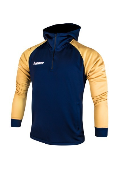 FLEECE ANTHEM HOODY HALF ZIP UP(NAVY/GOLD)
